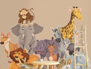 Άγρια ζώα Παιδικά Αυτοκόλλητα τοίχου 70 x 50 εκ.