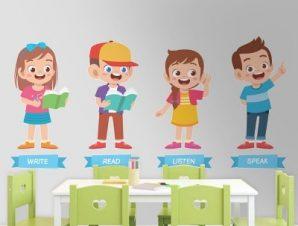 Γράψε, διάβασε, άκου, μίλα Παιδικά Αυτοκόλλητα τοίχου 70 x 33 εκ.