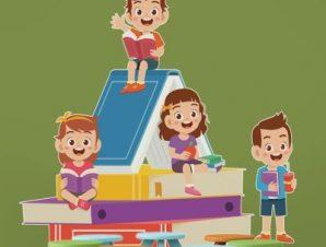Παιδιά κάθονται πάνω στο βιβλίο Παιδικά Αυτοκόλλητα τοίχου 65 x 53 εκ.