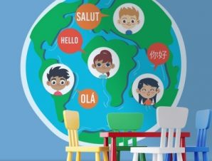 Γεια σε διάφορες γλώσσες Παιδικά Αυτοκόλλητα τοίχου 55 x 54 εκ.