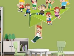 Σαΐτα με παιδάκια Παιδικά Αυτοκόλλητα τοίχου 65 x 58 εκ.