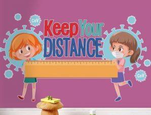 Κράτα απόσταση Παιδικά Αυτοκόλλητα τοίχου 70 x 40 εκ.