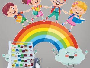 Διαβάζουμε στο ουράνιο τόξο Παιδικά Αυτοκόλλητα τοίχου 55 x 55 εκ.