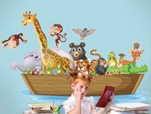 Κιβωτός του Νώε στη θάλασσα Παιδικά Αυτοκόλλητα τοίχου 70 x 46 εκ.
