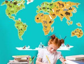 Χάρτης του κόσμου Παιδικά Αυτοκόλλητα τοίχου 100 x 62 εκ.
