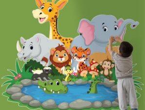 Ζωάκια στη λίμνη Παιδικά Αυτοκόλλητα τοίχου 70 x 58 εκ.