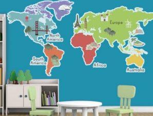 Οι 5 ήπειροι Παιδικά Αυτοκόλλητα τοίχου 70 x 35 εκ.