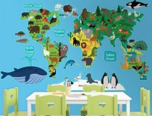 Ο χάρτης των ζώων Παιδικά Αυτοκόλλητα τοίχου 100 x 60 εκ.