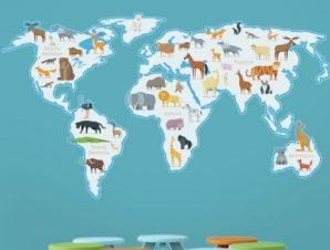 Χάρτης με ζώα Παιδικά Αυτοκόλλητα τοίχου 100 x 56 εκ.