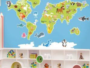 Χάρτης του κόσμου με ζώα Παιδικά Αυτοκόλλητα τοίχου 100 x 65 εκ.