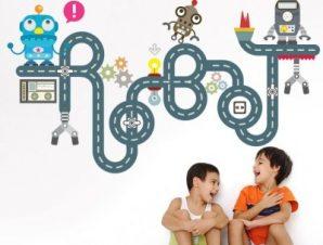 Robot φίλοι Παιδικά Αυτοκόλλητα τοίχου 100 x 58 εκ.
