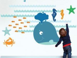 Φάλαινα μικρή Παιδικά Αυτοκόλλητα τοίχου 120 x 83 εκ.