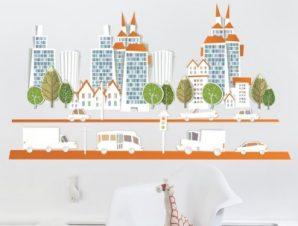 Πόλη Παιδικά Αυτοκόλλητα τοίχου 67 x 120 cm