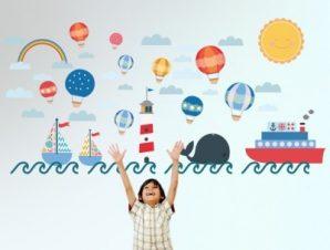 Θαλασσινό τοπίο Παιδικά Αυτοκόλλητα τοίχου 120 x 58 εκ.