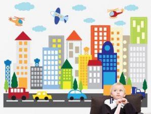 Βόλτα στη πόλη Παιδικά Αυτοκόλλητα τοίχου 65 x 88 cm