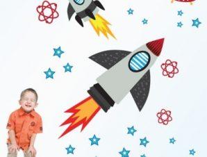 Ταξίδι στο διάστημα Παιδικά Αυτοκόλλητα τοίχου Small 92×105 cm