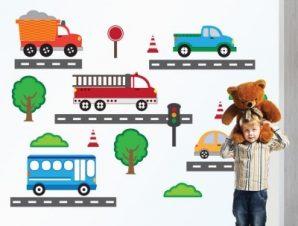 Αυτοκινητάκια φορτηγά Παιδικά Αυτοκόλλητα τοίχου Small 108×82 cm