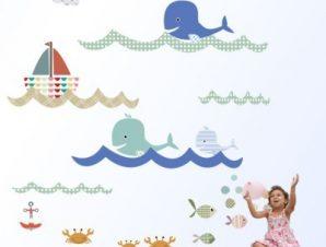 Ο βυθός Παιδικά Αυτοκόλλητα τοίχου Small 92×100 cm