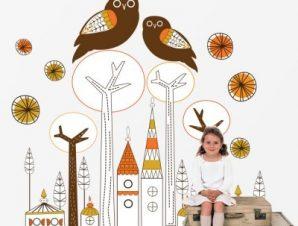 Ρετρό κουκουβάγιες Παιδικά Αυτοκόλλητα τοίχου 78 x 80 cm