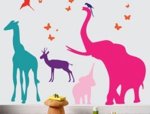 Ζώα της Ζούγκλας Παιδικά Αυτοκόλλητα τοίχου Small 84×73 cm