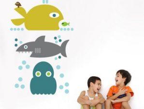 Μεγάλα ψάρια Παιδικά Αυτοκόλλητα τοίχου 50 x 81 εκ.