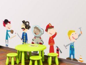 Ώρα για δουλειά! Παιδικά Αυτοκόλλητα τοίχου 57 x 158 cm