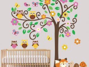 Δέντρο με κουκουβάγιες Παιδικά Αυτοκόλλητα τοίχου 237×287