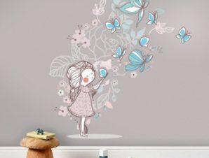 Butterfly Girl Παιδικά Αυτοκόλλητα τοίχου 100 x 108 εκ.
