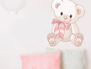 Αρκουδάκι με φιόγκο Παιδικά Αυτοκόλλητα τοίχου 40 x 50 εκ.