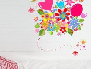 Πολύχρωμα λουλούδια με μπαλόνια Παιδικά Αυτοκόλλητα τοίχου 90 x 90 εκ.