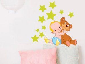 Μπεμπάκι με αστέρια Παιδικά Αυτοκόλλητα τοίχου 50 x 50 εκ.