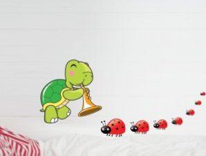Χελώνα και πασχαλίτσες Παιδικά Αυτοκόλλητα τοίχου 35 x 75 cm