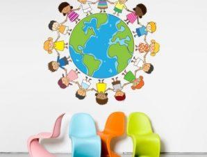 Παιδάκια γύρο-γύρο όλη Παιδικά Αυτοκόλλητα τοίχου 50 x 50 cm
