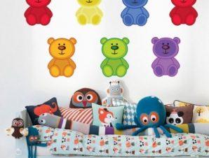 Αρκουδάκια πολύχρωμα Παιδικά Αυτοκόλλητα τοίχου 31 x 60 cm