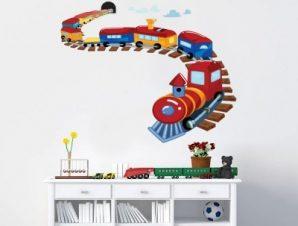 Τραινάκι πολύχρωμο Παιδικά Αυτοκόλλητα τοίχου 60 x 48 εκ.