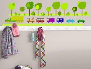 Αυτοκινητάκια με δέντρα Παιδικά Αυτοκόλλητα τοίχου 80 x 22 εκ.