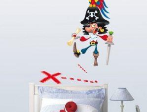 Πειρατής αστείος Παιδικά Αυτοκόλλητα τοίχου 50 x 63 εκ.