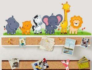 Ζωάκια στο γρασίδι Παιδικά Αυτοκόλλητα τοίχου 80 x 30 εκ.