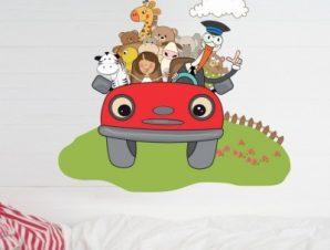 Αυτοκινητάκι με ζώα Παιδικά Αυτοκόλλητα τοίχου 60 x 55 εκ.