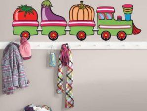 Τραινάκι με λαχανικά Παιδικά Αυτοκόλλητα τοίχου 90 x 30 εκ.