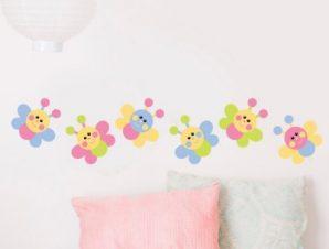Πεταλούδες πολύχρωμες Παιδικά Αυτοκόλλητα τοίχου 100 x 21 εκ.