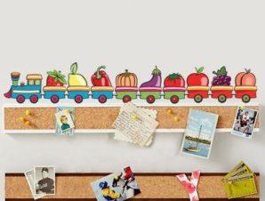Τραινάκι με διάφορα λαχανικά Παιδικά Αυτοκόλλητα τοίχου 20 x 122 cm