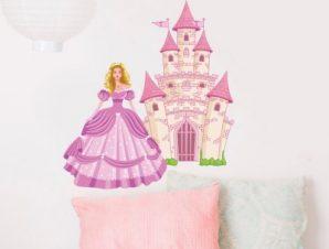 Πριγκίπισσα και παλάτι Παιδικά Αυτοκόλλητα τοίχου 58 x 50 cm