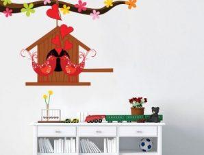 Πουλάκια Με καρδιές Παιδικά Αυτοκόλλητα τοίχου 37 x 50 cm