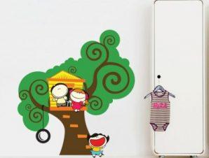 Δεντρόσπιτο Παιδικά Αυτοκόλλητα τοίχου 60 x 65 εκ.