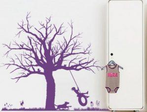 Κούνια σε δέντρο Παιδικά Αυτοκόλλητα τοίχου 100 x 84 εκ.