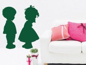 Αγόρι κορίτσι Παιδικά Αυτοκόλλητα τοίχου 50 x 42 cm