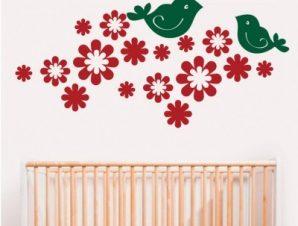 Πουλάκια Παιδικά Αυτοκόλλητα τοίχου 27 x 58 cm
