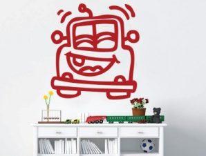 Αυτοκινητάκι χαρούμενο Παιδικά Αυτοκόλλητα τοίχου 40 x 43 εκ.