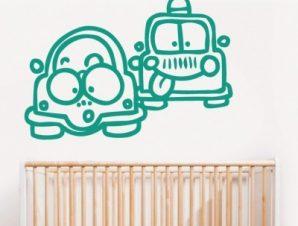 Δυο αυτοκινητάκια Παιδικά Αυτοκόλλητα τοίχου 40 x 57 cm